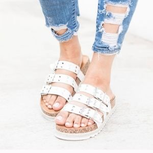 White Studded Espadrille Slides